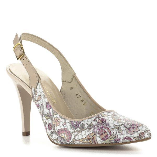 Luca Cavialli virágos szandálcipő 9 cm magas sarokkal, kívül-belül bőrből készült. Elegáns női cipő hétköznapi és alkalmi viseletre egyaránt.