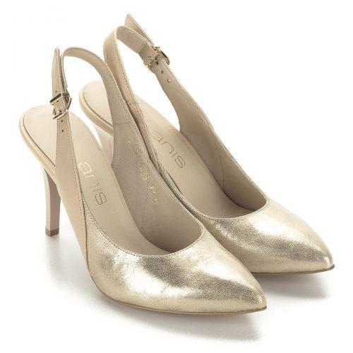 Magassarkú arany Anis szandálcipő állítható sarokpánttal. Nagyon elegáns, a magas sarok ellenére kényelmes szandál, kívül-belül bőr. Sarka 9 cm magas.