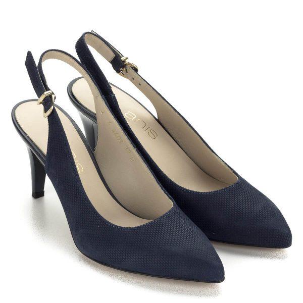 Mintás Anis szandálcipő kék színben 7,5 centis sarokkal. Bőr felsőrészén apró mintás, bélése bőr, csatja arany színű. Elegáns, kényelmes női szandál.