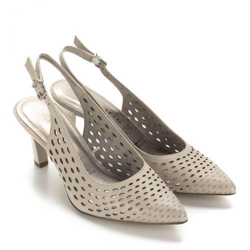 Tamaris drapp szandálcipő puha memóriahabos talpbéléssel. A cipő felsőrésze bőr, szellős, lyukacsos, sarokpántja csattal állítható. Sarka 7 cm magas.