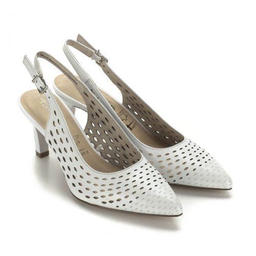 Törtfehér magas sarkú Tamaris szandálcipő 7 cm magas sarokkal. Lyukacsos bőr felsőrésszel és puha talpbéléssel készült. Kényelmes női cipő.