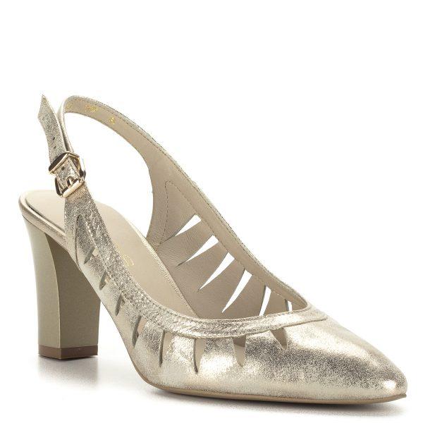Arany magassarkú Anis szandálcipő bőr felsőrésszel és bőr béléssel, állítható sarokpánttal. Sarka kb 7,5 cm magas. Alkalmi cipőnek és hétköznapra is.
