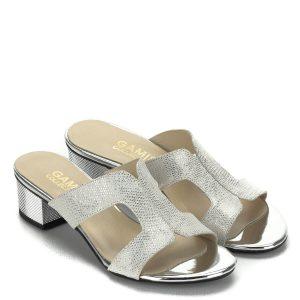 Kis sarkú Gamis női bőr papucs fehér-ezüst színben a389537866