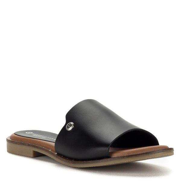 Vaquetillas fekete spanyol bőr papucs lapos talppal. Vastag pántja jól tartja a lábat, puha talpbélése egész napos kényelmet nyújt.