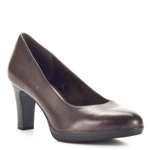 Barna Tamaris magassarkú platformos cipő, sarka 7,5 cm magas, talpa kb 1,5 cm. A Tamaris klasszikus magassarkú pumps cipője AntiShokk sarokkal és memóriahabos talpbéléssel készült, egész napos viselés esetén is kényelmet nyújt. A barna Tamaris magassarkú körömcipő kényelmes magas sarkú fazon. - Tamaris 1-22410-21 304