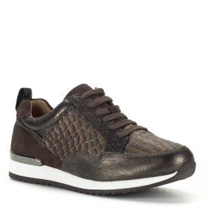 Caprice sportcipő bőrből, barna színben, lapos talppal. Divatos, fiatalos fűzős Caprice cipő, barna-bronz színkombinációban, fehér gumi talppal. A cipő hátsó részére csillogós betét került. A cipő komfortos bőr béléssel készült, talpa normál szélességű.