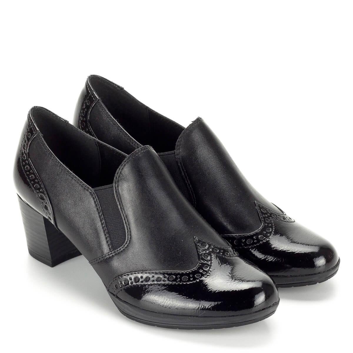 Marco Tozzi zárt női bőr cipő AntiShokk sarokkal. Felsőrésze két oldalt  gumi betétes d7ee2215d8