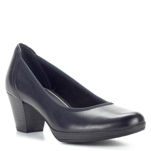 Sötétkék Marco Tozzi platformos cipő bőr felsőrésszel, AntiShokk sarokkal, memóriahabos talpbéléssel. Kiváló választás a hétköznapokra, stabil AntiShokk sarka biztonságot és kényelmet garantál, a vastag gumi talp hajlékony gumiból készült. A sötétkék Marco Tozzi platformos cipő sarokmagassága 6 cm.