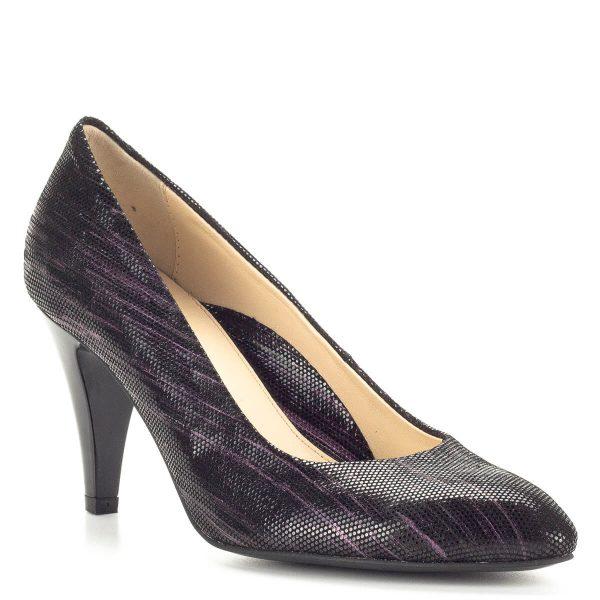 Clarette tűsarkú cipő 8 cm magas sarokkal. Az olasz cipőgyártó letisztult fazonja extra bőrből készült, fekete alapon lilás csíkozású, csillogós felületű. A Clarette tűsarkú cipő bélése is természetes bőrből készült, nagyon elegáns, minőségi bőr lábbeli.