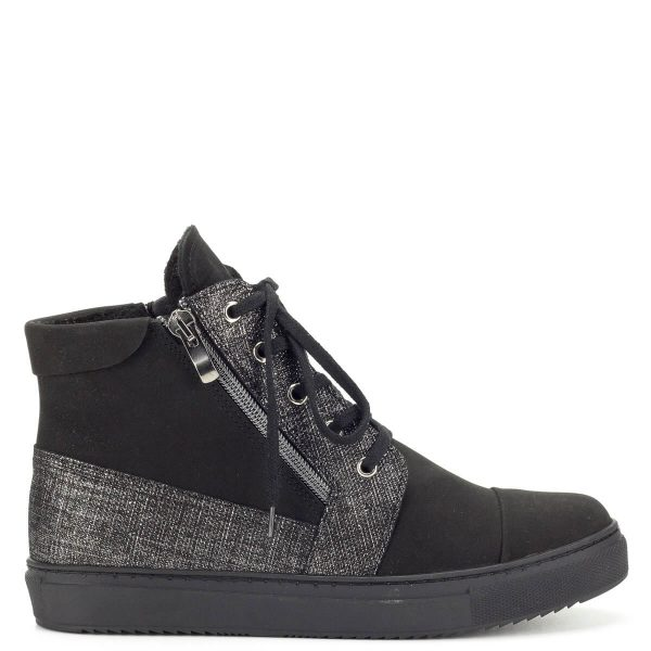 Fekete magas szárú Korda női cipő