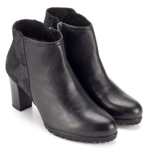 Fekete Caprice magas sarkú bokacipő - Bőr bokacipő - Rövid szárú csizma