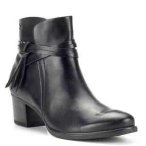 Fekete Caprice női bőr bokacsizma - Bőr bokacipő - Rövid szárú csizma