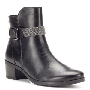 Fekete díszített Caprice bokacsizma - Rövid szárú csizma - Bőr bokacipő