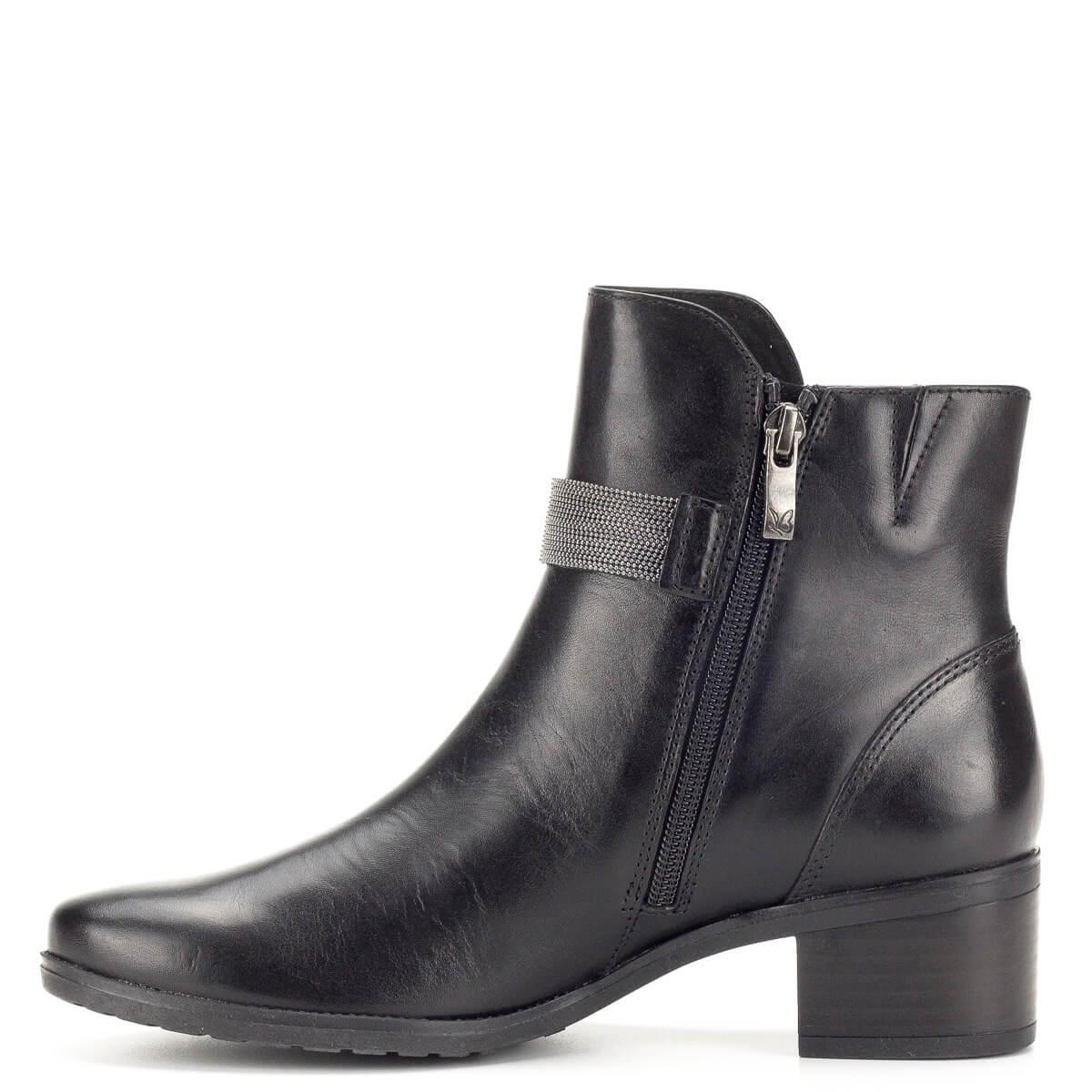 Fekete díszített Caprice bokacsizma - Rövid szárú csizma - Bőr bokacipő 695e30f78b