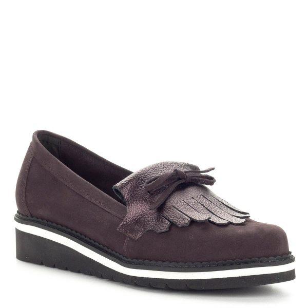 Korda bordó lapos női bőr cipő
