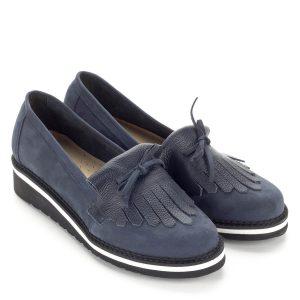Korda kék lapos női bőr cipő