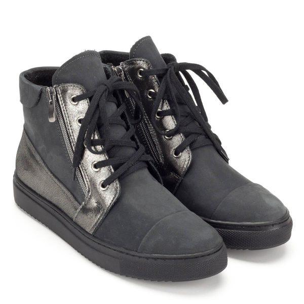 Szürke Korda magas szárú bőr cipő