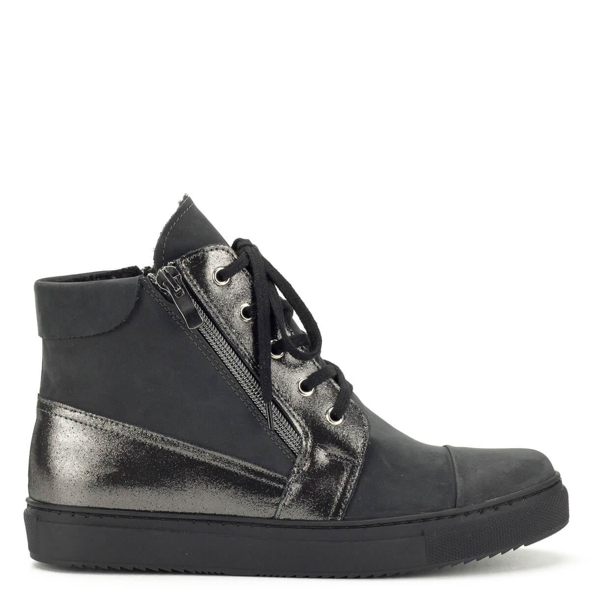 Szürke Korda magas szárú bőr cipő - Őszi cipő - Bakancs - Bokacipő 583e9abacc