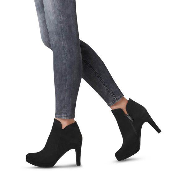 Tamaris fekete platformos bokacipő