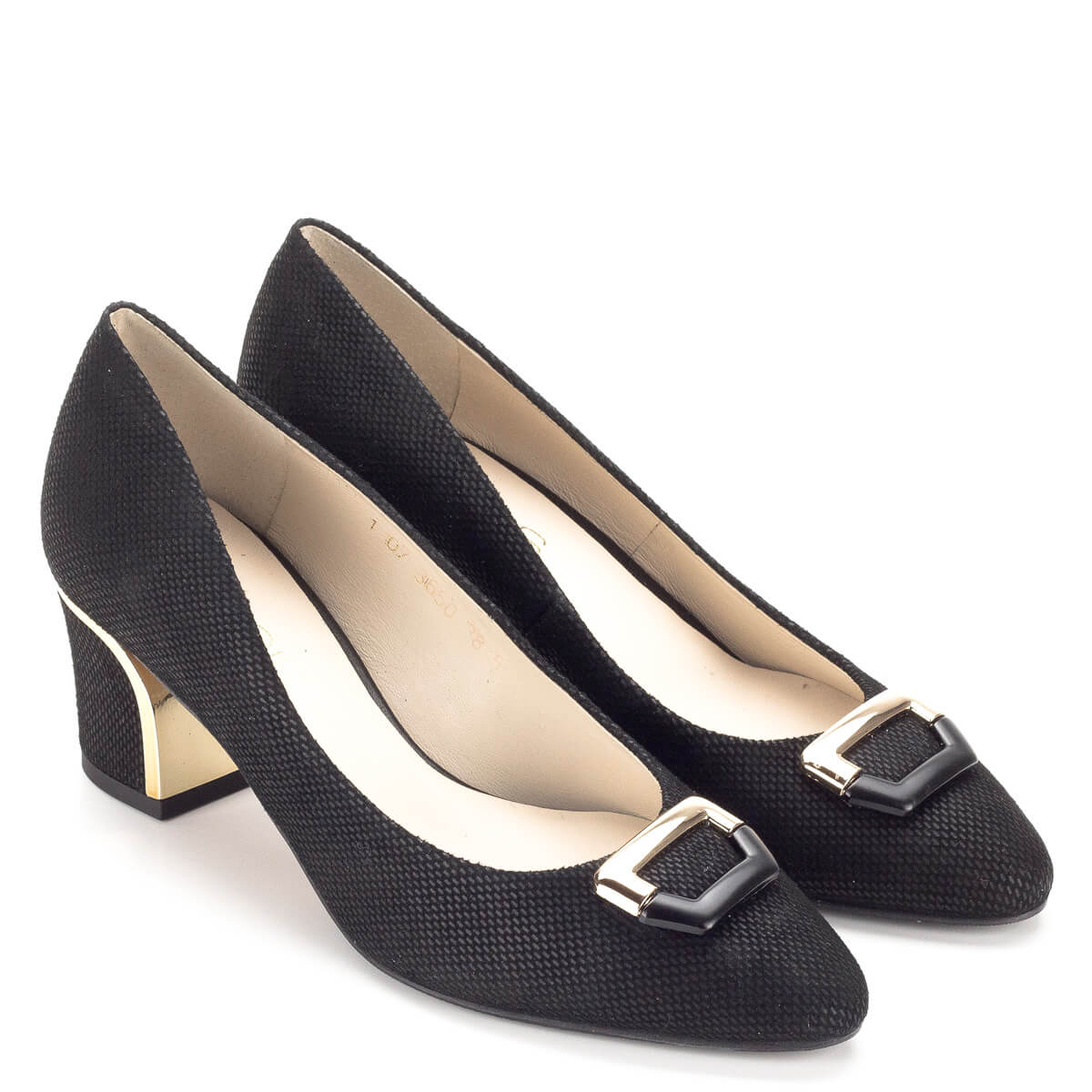 Anis cipő közepes sarokkal, fekete színű Alkalmi cipők