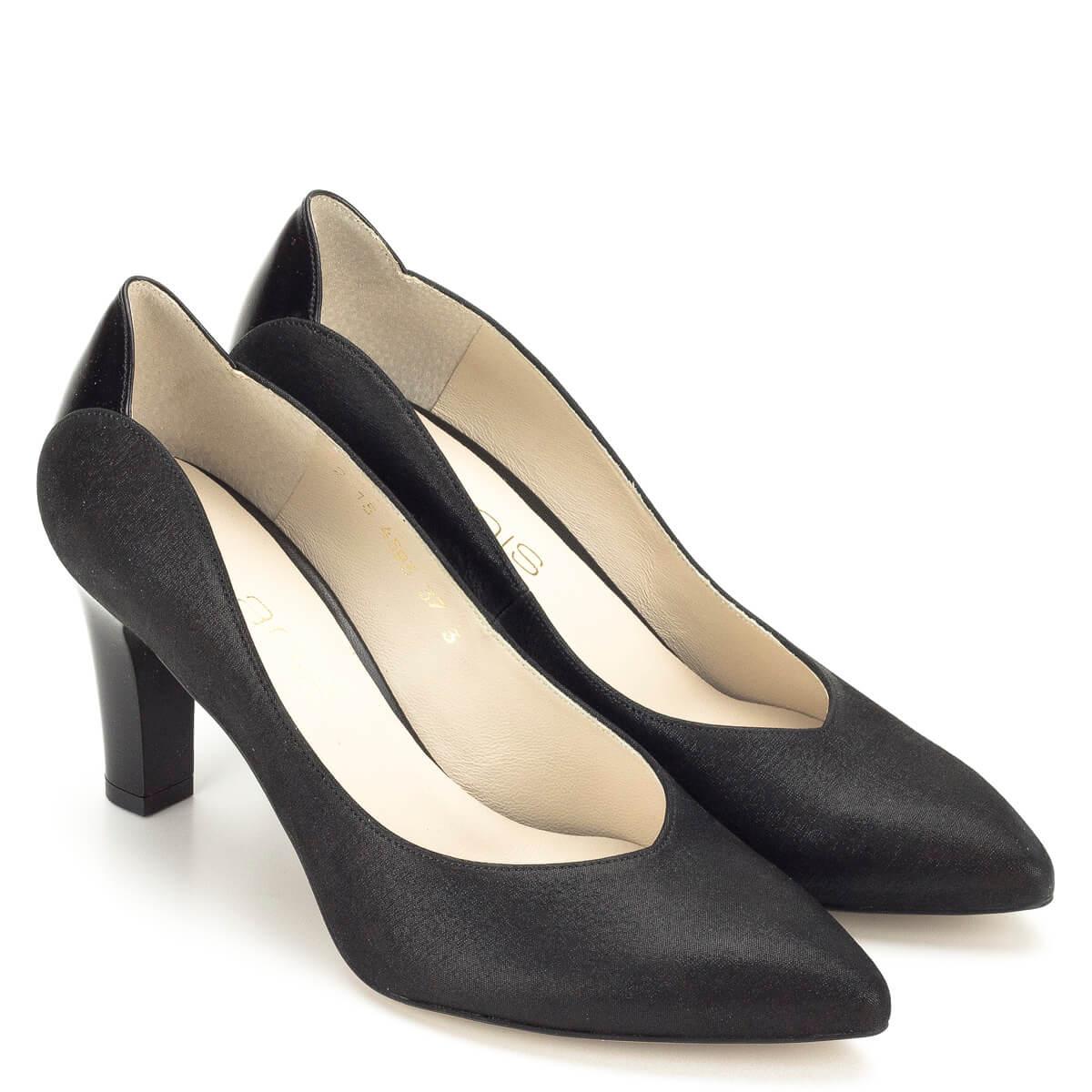 Fekete Anis magassarkú bőr cipő