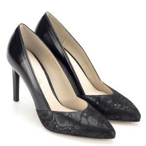 ff0da0af9d Magas sarkú fekete Anis körömcipő - Anis cipők - Magassarkú cipők - Anis  4633 BLACK KORONKA