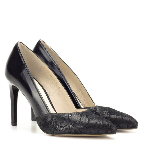 Magas sarkú fekete Anis körömcipő - Anis cipők - Magassarkú cipők - Anis 4633 BLACK KORONKA