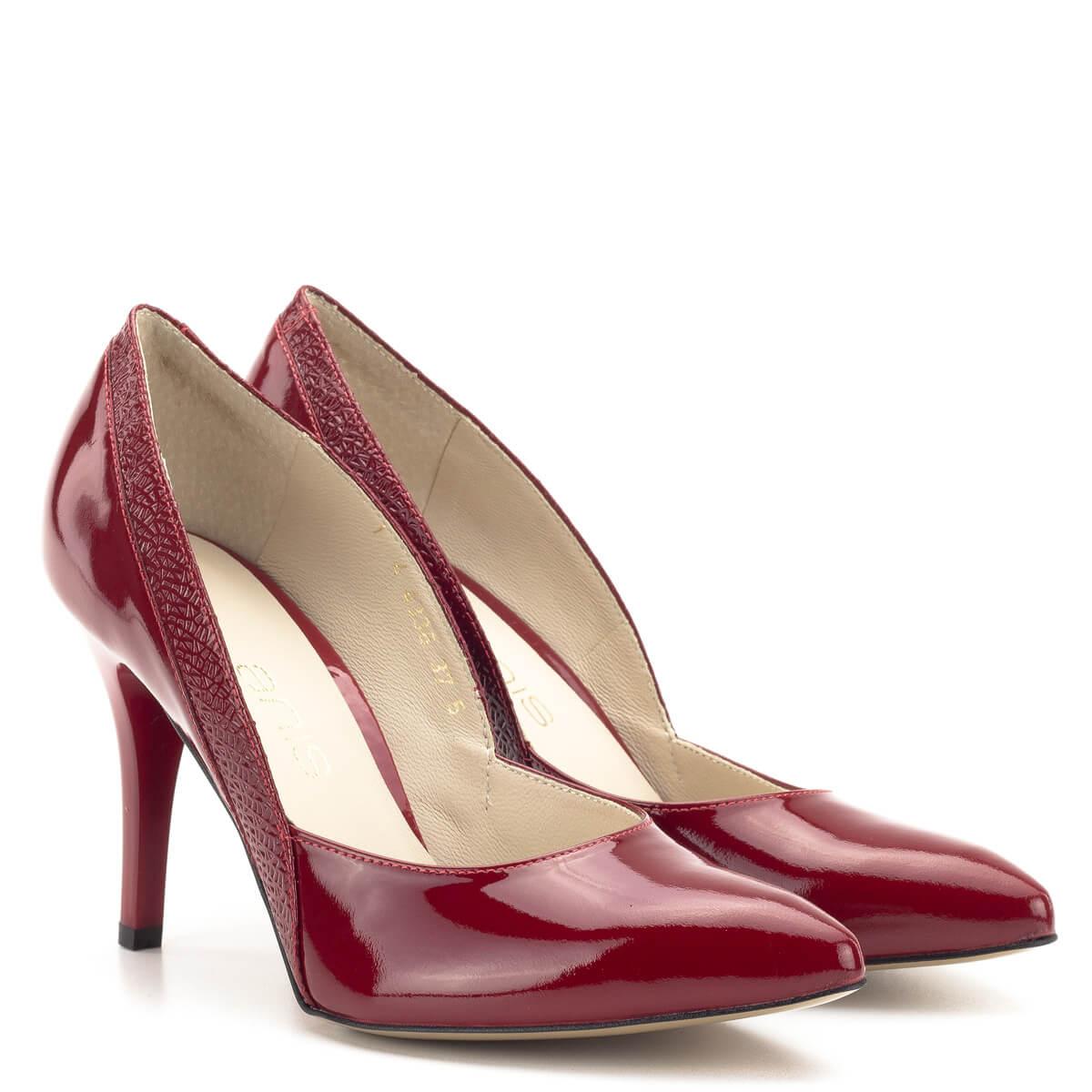 Anis alkalmi cipő - Piros lakk magassarkú cipő bőr béléssel 3ccee1d747