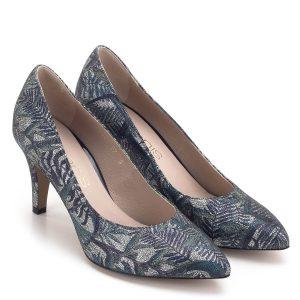 Anis cipő 7,5 cm magas sarokkal, kívül belül bőrből készült. Kék-ezüst színű extra felsőrész és szuper kényelem jellemzi a cipőt.