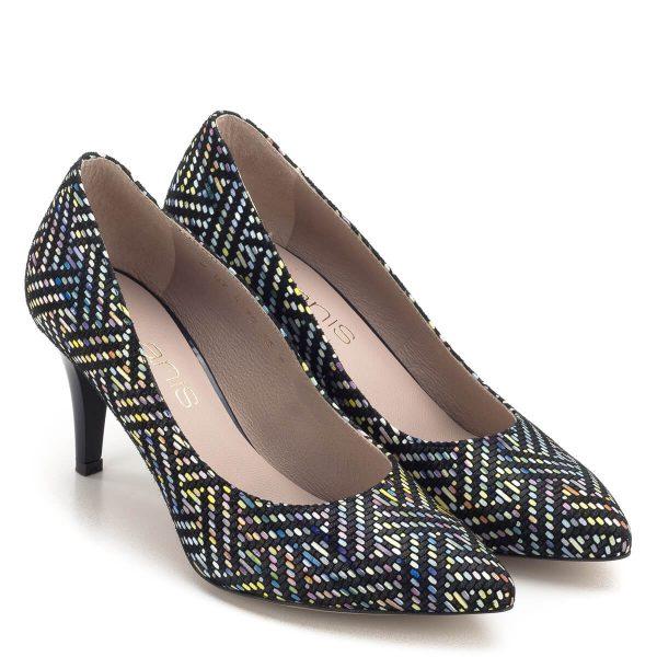 Magas sarkú színes bőr cipő bőr béléssel. Mintázata és színei teszik különlegessé ezt a 7,5 cm magas sarkú cipőt. Ingyenes szállítással rendelhető