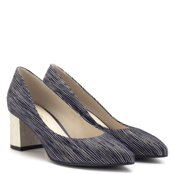 Kék-arany Anis női cipő Márka: Anis Szín: Kék-arany Sarok magassága: 6 cm A talp vastagsága: - Anyag: Bőr Modellszám: 3638 BLUE 350/7