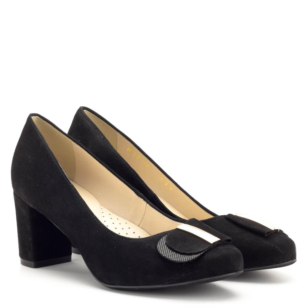 Luca Cavialli fekete bőr magassarkú cipő