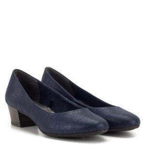 Feel Me memóriahabos talpbetéttel ellátott Marco Tozzi cipő enyhén csillogó, apró mintás kék felsőrésszel. Sarka 4 cm magas. Divatos megjelenésű, ugyanakkor nagyon kényelmes női cipő a Marco Tozzi új kollekciójából - Marco Tozzi 2-22305-32 824