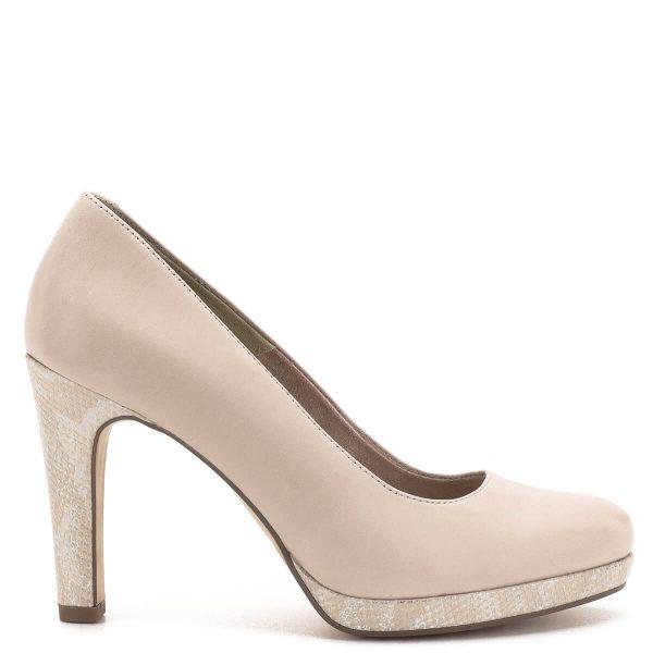 Magas sarkú Tamaris cipő púder rózsaszín színben. Tamaris Touch It talpbéléssel készült, a 2 cm magas platformos talp a magasságérzetet csökkenti. A Tamaris cipő platformja és sarka mintás bőrrel bevont - Tamaris 1-22477-22 508