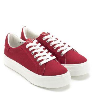 Tamaris cipő - Piros fűzős vászoncipő a Tamaris új kollekciójából. A cipő vastag gumi talppal készült, kényelmes, fiatalos fazon - Tamaris 1-23602-22 515