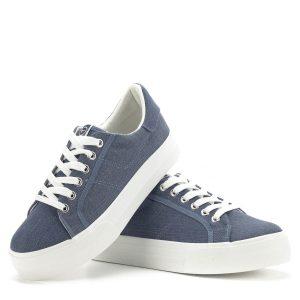 Tamaris vászoncipő vastag gumi talppal, farmerkék színben. Kényelmes, fiatalos Tamaris cipő a hétköznapokra, az új kollekció darabja, a Tamaristól megszokott kiváló minőségben - Tamaris 1-23602-22 807