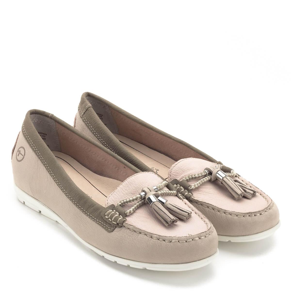 Tamaris cipő rózsaszín és drapp bőr kombinálásával. Talpbetétje kivehető dc2dceccbe
