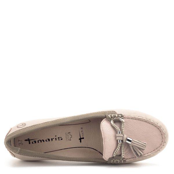 Tamaris cipő rózsaszín és drapp bőr kombinálásával. Talpbetétje kivehető, Tamaris Touch It memóriahabos. A könnyed mokaszin fazon tavasztól őszig kiváló viselet, városnézéshez, sétához egyaránt - Tamaris 1-24602-22 424