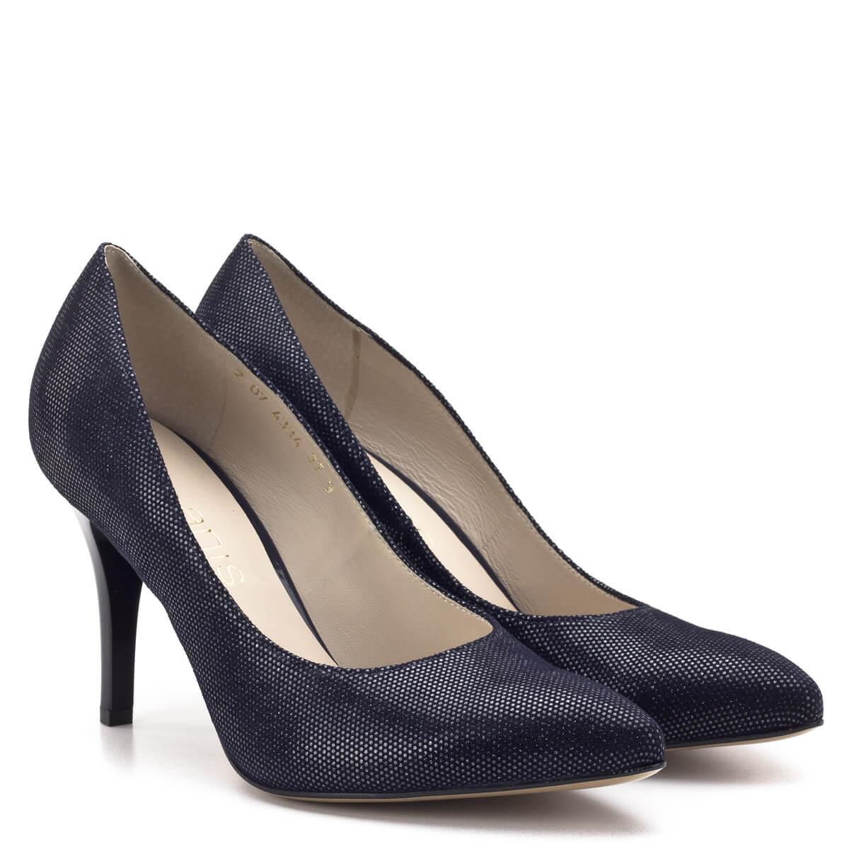 2f7cb2957f Anis kék-ezüst magassarkú női cipő 9 cm magasságú sarokkal. Bőrét apró  ezüst minta ...