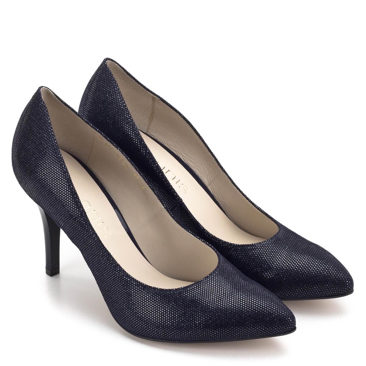 f8d021d6a4 Bőrét apró ezüst minta; Anis kék-ezüst magassarkú női cipő 9 cm magasságú  sarokkal. Bőrét apró ezüst minta