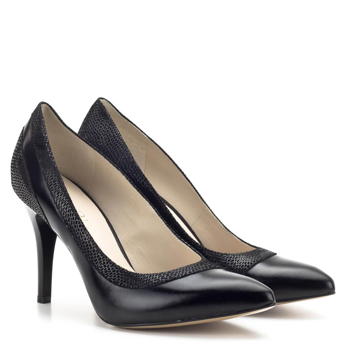 Ekrü színű Anis alkalmi cipő anyagában díszített bőrből, 9