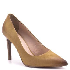Bioeco cipő sötét mustár színben bőrből, bőr béléssel, sarka 9 cm magas. Klasszikus nyújtott orrú fazon, nagyon elegáns, nőies magassarkú cipő.