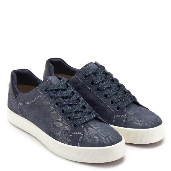 Sötétkék fűzős Caprice cipő bőrből, vastag gumi talppal. Kényelmes, kerek orrú női cipő, a Caprice új kollekciójának része - Caprice 9-23203-22 889