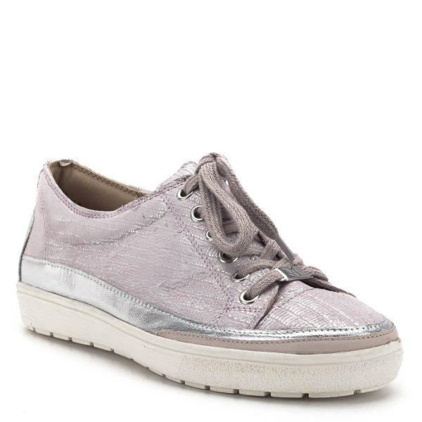Caprice cipő halvány rózsaszín színben, szélén ezüst színű csík fut. Kényelmes, kerek orrú sportos fazonú cipő gumi talppal, a Caprice új kollekciójának része - Caprice 9-23654-22 517
