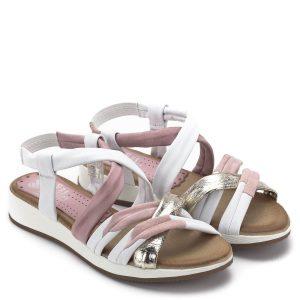 Marila szandál rózsaszín és fehér színek kombinálásával. A szandál nagyon puha párnázott talpbéléssel készült, pántjai szorosan fogják a lábat, azokon nem található csat. Kiváló minőségű, spanyol női szandál a Marila kollekciójából - Marila 600 ES-25 MULTIBLANCO