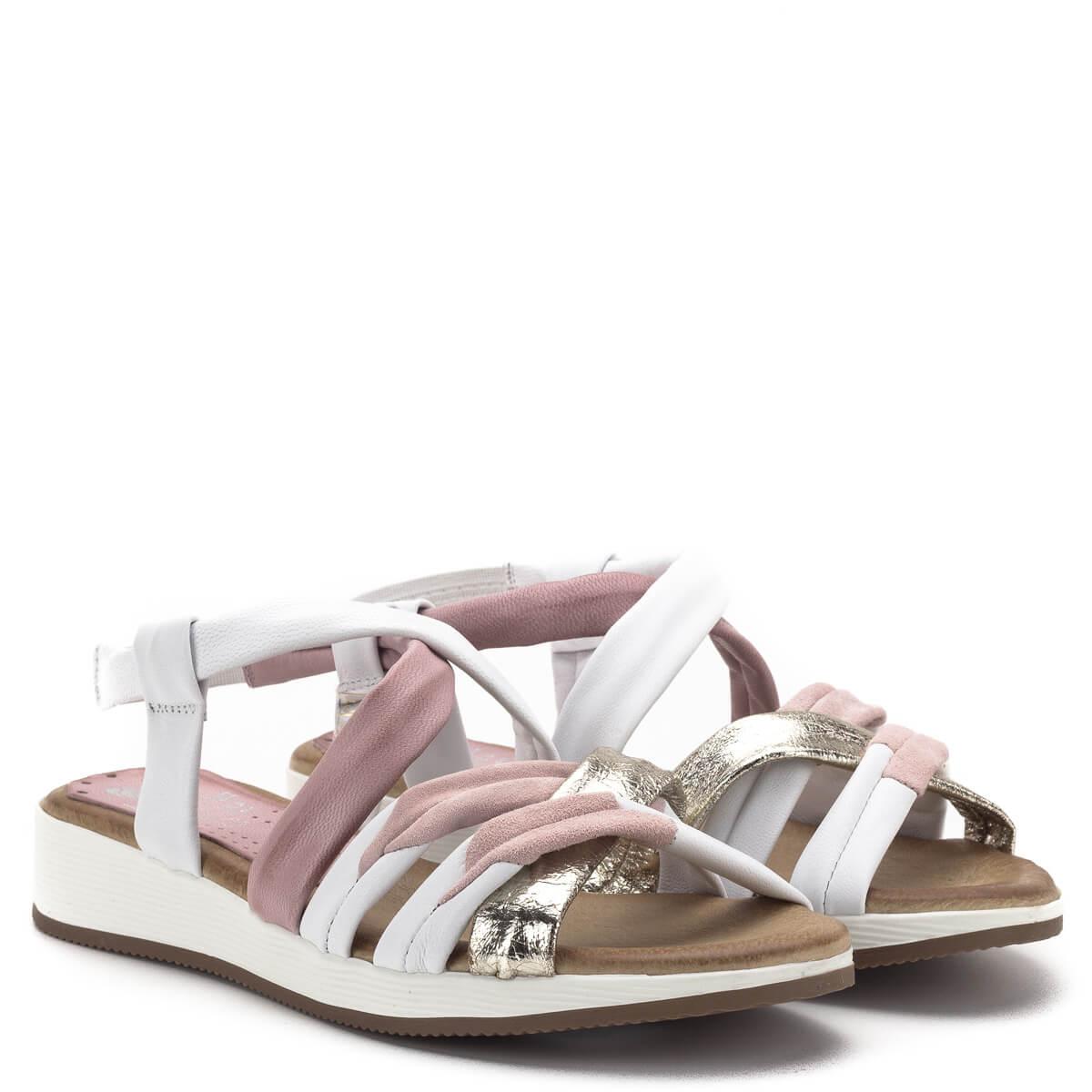 Marila szandál Fehér rózsaszín bőr szandál Marila 600 ES