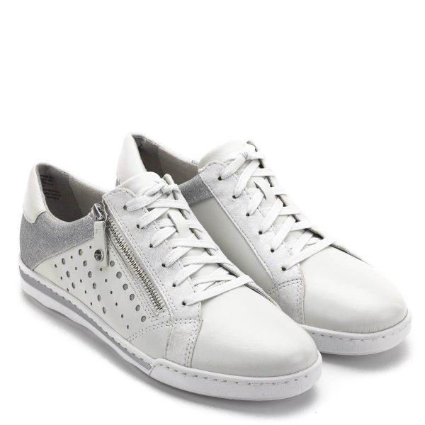 Tamaris cipő fehér színben, ezüstös csillogó részekkel. Fűzős cipő, mely memóriahabos Tamaris Touch It talpbéléssel készült, külső oldalán cipzár könnyíti a felvételt. A Tamaris tavasz/nyár kollekciójának egy nagyon kényelmes és jól kihasználható darabja - Tamaris 1-23619-22 100