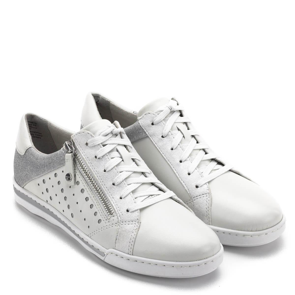 9310b4729f Tamaris cipő fehér színben, ezüstös csillogó részekkel. Fűzős cipő, mely  memóriahabos Tamaris Touch ...