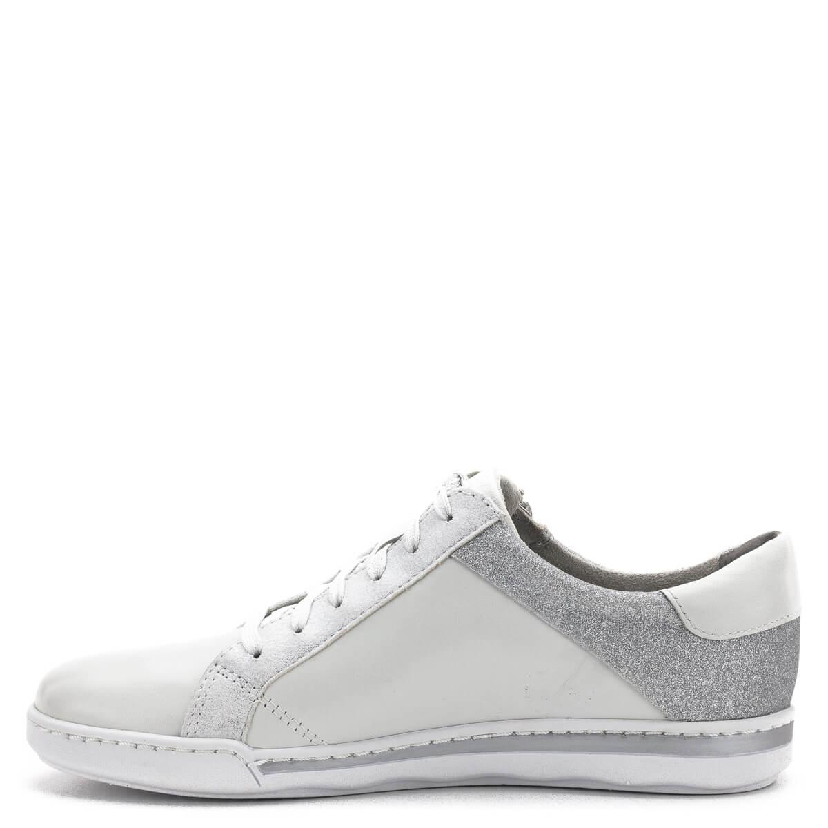 3a6c0cdeb6 ... Tamaris cipő fehér színben, ezüstös csillogó részekkel. Fűzős cipő,  mely memóriahabos Tamaris Touch ...