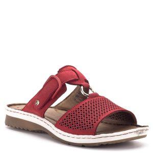 Tamaris papucs piros színben, bőrből, bőr béléssel. A hátsó pánt bősége tépőzárral szabályozható. Gumi talpa hajlékony, talpbélés része memóriahabos, igazi kényeztetés a lábnak - Tamaris 1-27400-22 500